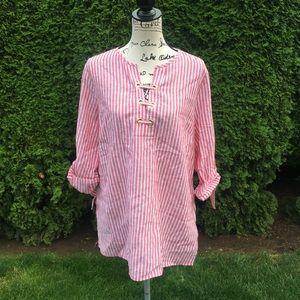 NWT MICHAEL KORS Striped Linen Tunic Shirt